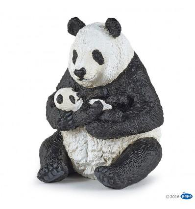 Sitzender Panda mit Jungem