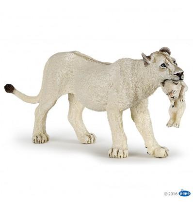 Lionne blanche avec lionceau