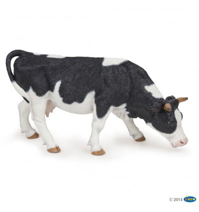 Black and white grazing cow